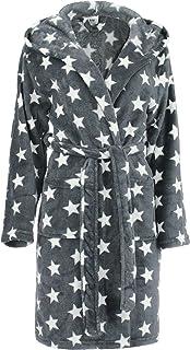 Albornoz para Mujer con Capucha Bata de baño para Ducha,Playa y Baño - Estrellas - Color: Gris/Blanco - tamaño: S/M - L/XL