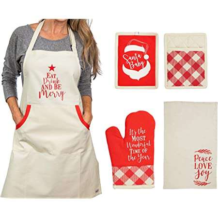 Kitchen Towel Magnus Mary Present for Mothers Set Include Greeting Card Oven Mitt Kitchen Linen Set Bib Apron Mothers Day Apron,Perfect Holiday Present for Wife Pot Holder