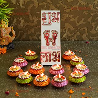 TIED RIBBONS Diwali Diya Set with Wax and Shubh Labh Acrylic Sticker Oil Diya Lamp for Pooja Room Home Decor Terracotta Cl...