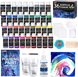 Acrylic Pouring Paint, Shuttle Art Set of 36 Bottles (2 oz) Pre-Mixed High-Flow Acrylic Paint Pouring Supplies with Canva...