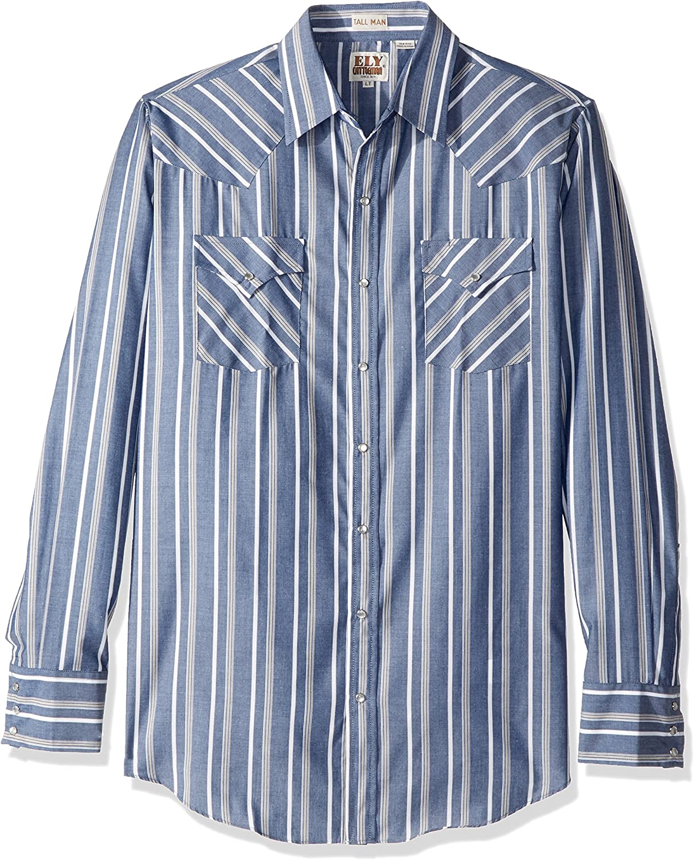ELY CATTLEMAN Men's Long Sleeve Stripe Western Shirt