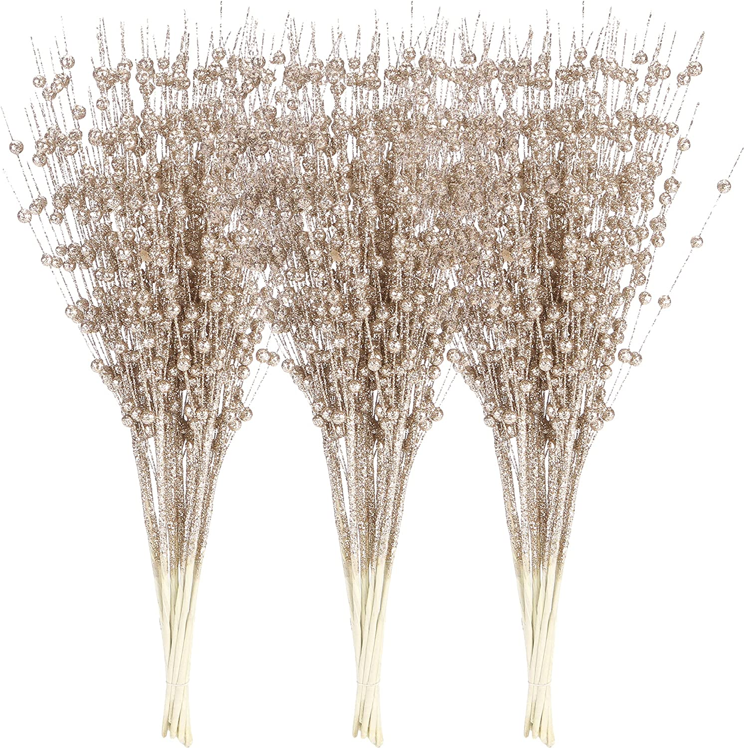 Sea Team 24-Pack Artificial Glitter Berry Stem Ornaments, Decorative Bead Sticks, Glittery Twigs, Picks, Branches for Christmas Tree, Small Vase, Holiday, Wedding, Party (17 Inches, Champagne)