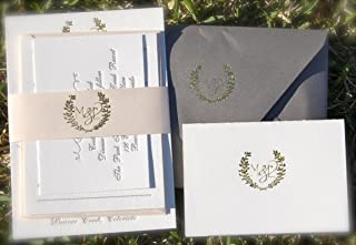 Letterpress Wedding Invitations with Gold Foil Monogram
