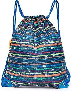 Boy's Gym Sack Foldable Fitness Bag Drawstring Backpack Navy Color