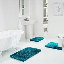 Genteele Non-Slip Memory Foam Shaggy Bathroom Mat, Water Absorbent, Super Plush Bath Mat, Washable Bathroom Rug, 3-Piece R...