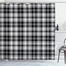 Ambesonne Abstract Shower Curtain, British Tartan Celtic Pattern with Vertical Horizontal Symmetric Stripes Image, Cloth Fabric Bathroom Decor Set with Hooks, 70 Long, White Black