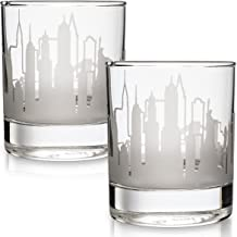 Greenline Goods Whiskey Glasses - 10 Oz Tumbler Gift Set for New York Lovers   Etched with New York Skyline   Old Fashioned Rocks Glass - Set of 2
