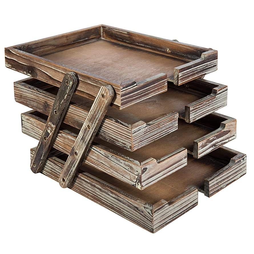 4-Tier Distressed Brown Wood Desktop Document Paper Organizer Collapsible & Expandable Stacking Trays