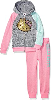Hello Kitty Little Girls 2 Piece Zip-up Hoodie and Pant Active Set, Pink 5