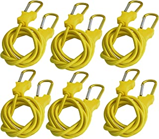 Pack of 3 PROGRIP 056310 Better Than Bungee Rope Lock Tie Down with Snap Hooks 6 Yellow Paracord