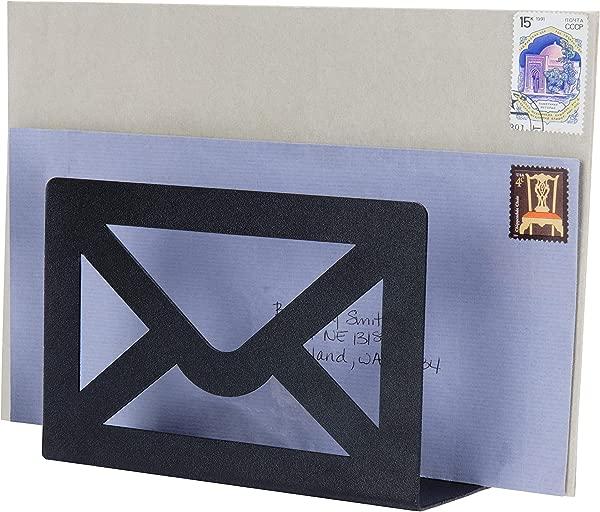 MyGift Modern Cutout Envelope Design Black Metal Desktop Letter Holder