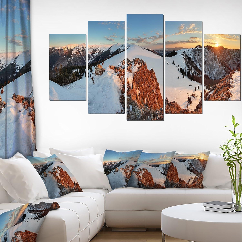 Designart Slovakia Frozen Panorama Landscape Wall Art Canvas Print 60x32 5 Piece Pt11086 373 60x32 5 Panels Diamond Shape Posters Prints