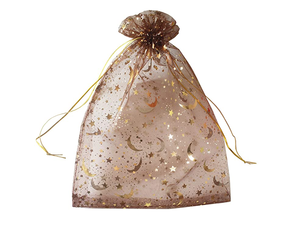 QIANHAILIZZ 100 Moon Star Organza Jewelry Gift Pouch Candy Pouch Drawstring Wedding Favor Bags (coffee, 3.5 x 4.7 inch)