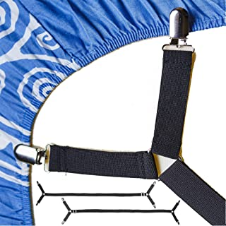 FeelAtHome Bed Sheet Holder Straps Criss-Cross - Pack of 2 Sheet Straps Suspenders - Sheet Grippers Fasteners - Fits from ...