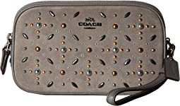 Crossbody Clutch in Suede Leather with Prairie Rivets