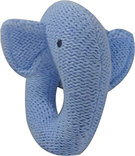 ES Kids Knitted Elephant Ring Rattle, Blue