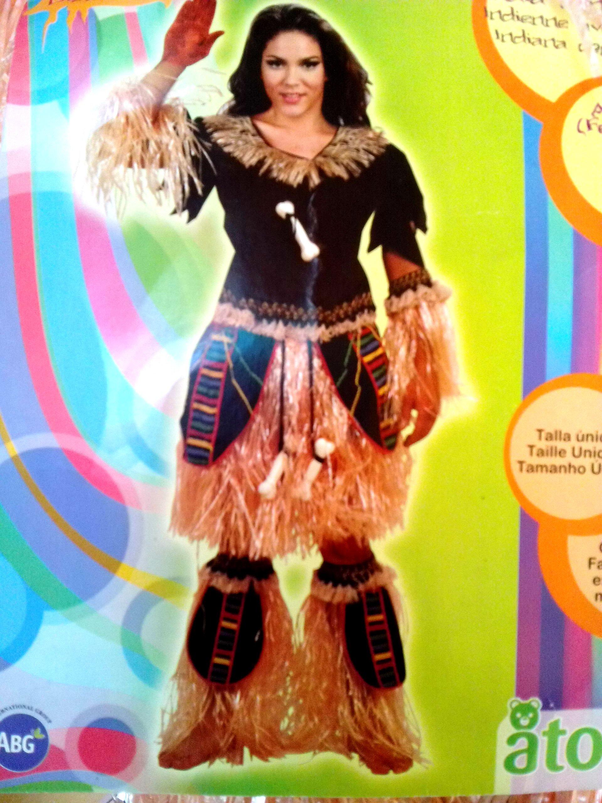 Disfraz de India del Amazonas, con flecos. Talla única de mujer ...