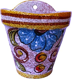 Cactus Canyon Ceramics Spanish Hand-Painted Wall Flower Pot, Yellow Design