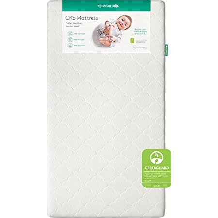 """Newton Baby Crib Mattress and Toddler Bed - 100% Breathable Proven to Reduce Suffocation Risk, 100% Washable, 2-Stage, Non-Toxic Better Than Organic, Removable Cover - Deluxe 5.5"""" Thick- White"""