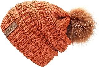 d246e8dbfd QUEENFUR Women Knit Slouchy Beanie Chunky Baggy Hat with Faux Fur Pompom  Winter Soft Warm Ski