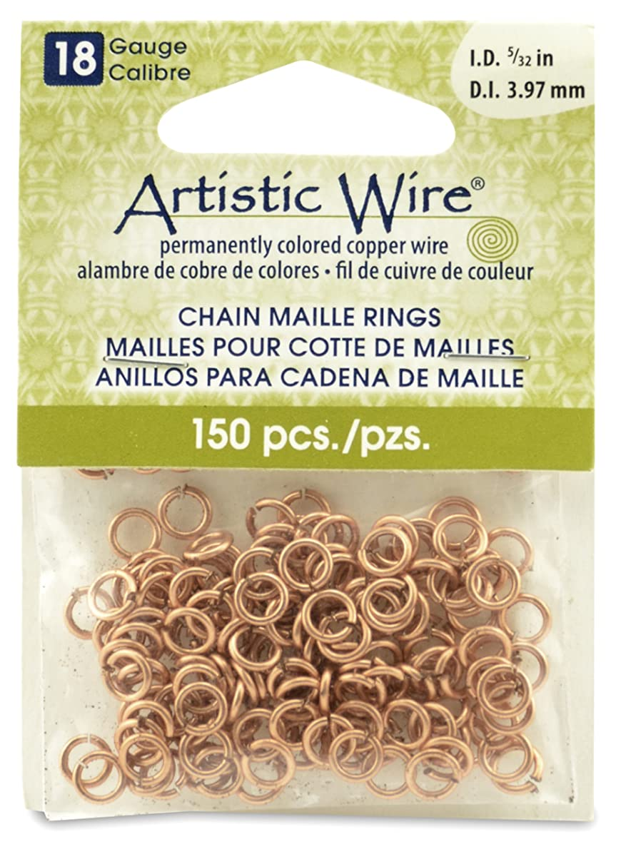 Artistic Wire 18-Gauge Natural Chain Maille Rings, 5/23-Inch Diameter, 150-Pieces