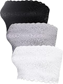Women's Bandeau Bra Seamless Full Floral Lace Tube Top Bra Stretchy Strapless Chest Wrap for Girls Daily Wearing