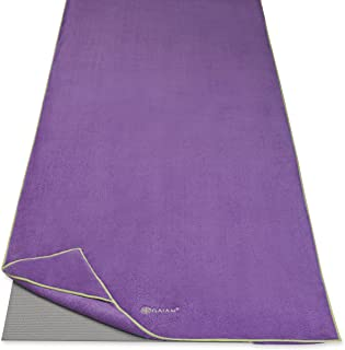 "Gaiam Stay Put Yoga Towel Mat Size Yoga Mat Towel (Fits Over Standard Size Yoga Mat - 68""L x 24""W)"