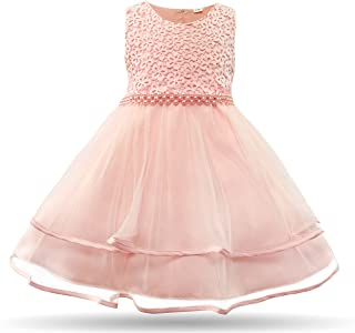 CIELARKO Baby Girl Dress Infant Flower Lace Wedding Party Dresses for 0-24 Months