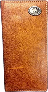 Mens Mossy Oak Leather Bi Fold Checkbook Wallet Genuine Leather Long Western Bifold Wallet with 14 Credit Card Slots