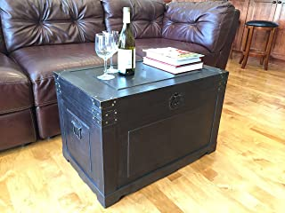 Styled Shopping Newport Large Wood Storage Trunk Wooden Treasure Chest - Black