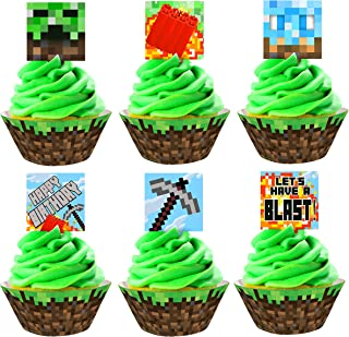 Details about  /Mine craft inspired Mosaic Square 30x1cm//Camouflage sprinkle Cupcake Cake Topper