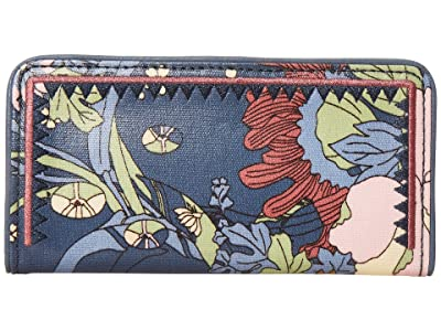 Sakroots Artist Circle Slim Wallet (Denim Flower Power) Wallet Handbags