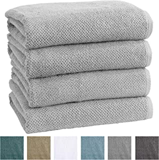 4-Pack 100% Cotton, Quick-Dry Textured Bath Towels. Ultra-Absorbant, Popcorn Weave. Acacia Collection. (Bath 4pk, Light Grey)