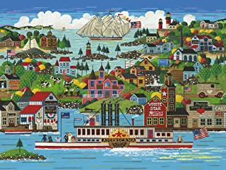 """The Jigsaw Puzzle Factory Hometown Reflections The Americana, Vintage Puzzle Games for Adults and Kids Ages 12 and Up, Made in The USA, 750 Piece, Full Size is 18"""" x 24"""""""