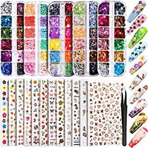 12 Sheets Nail Art Sticker 3D Self-Adhesive, Teenitor Nail Art Decoration with 5 Boxes Holographic Nail Art Glitter Flakes Butterfly Heart Star Maple Leaf Nail Sequins and Nail Art Flower Slices