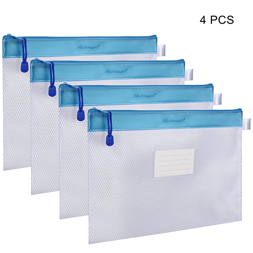 Zipper File Bag, Wisdompro 4 Packs Letter Size Paper Document Storage File Zipper Pouches/Holder with Label Pocket Organizer for Office Documents, Business Receipts, User Manual - Blue