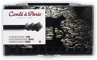 Conté à Paris 12 Count 2B Sketching Crayons Set, Black