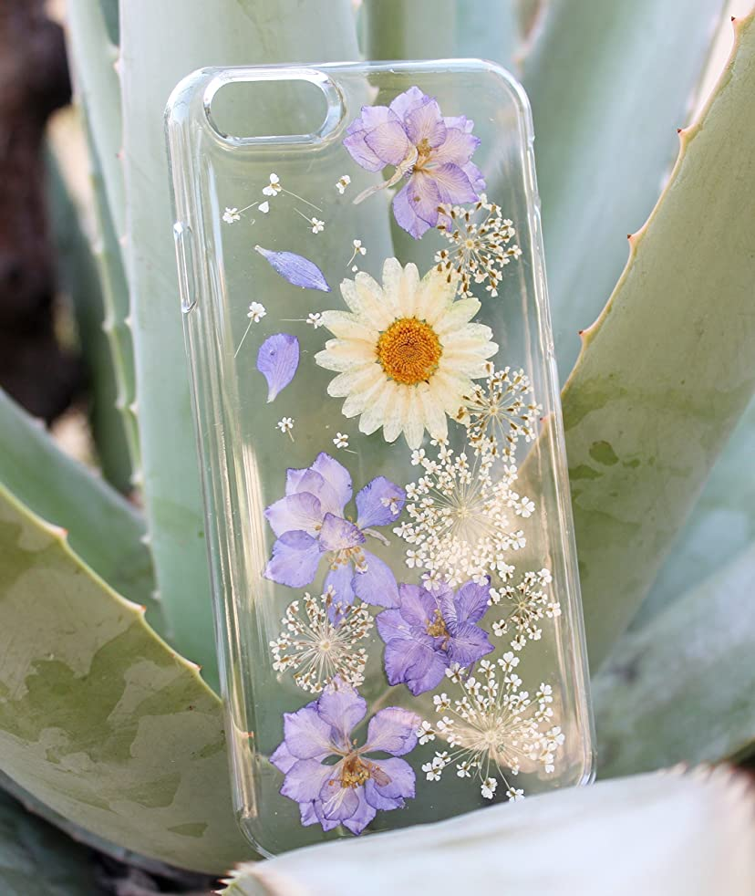 White Daisy Purple Passion Flowers iPhone 8, iPhone 7 Phone Case- Pressed Dried Flowers On iPhone X, XS, XS Max, XR, iPhone 8 Plus, iPhone 7 Plus, iPhone 6/6s, iPhone 6/6s Plus, 5c Floral Case
