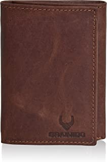Trifold Leather Mens Wallet with RFID protection-with 6 credit card holder + 1 ID Window.