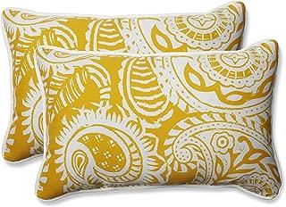 Pillow Perfect Outdoor | Indoor Addie Egg Yolk Rectangular Throw Pillow (Set of 2), 2 Piece
