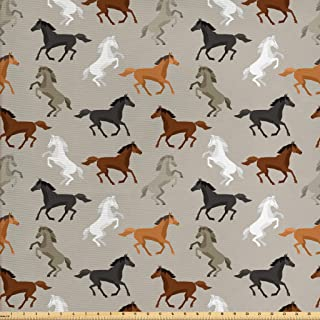 Ambesonne Horses Fabric by The Yard, Abstract Stallions Simple Design Animals Galloping Curvet Illustration, Decorative Fabric for Upholstery and Home Accents, 1 Yard, Taupe Black