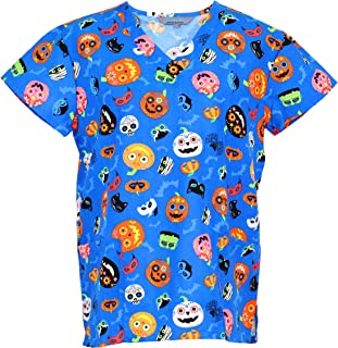 Cassandra Women's Halloween Medical Nursing Scrub Top Shirt
