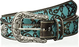 ARIAT Women's Turquoise Scroll Silver Concho Belt