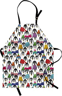 Ambesonne Sea Animals Apron, Pattern with Penguins in Colorful Hats and Scarfs Cold Winter Fun Art, Unisex Kitchen Bib with Adjustable Neck for Cooking Gardening, Adult Size, Black Yellow