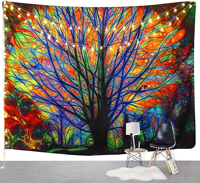 BLEUM CADE Colorful Tree Tapestry Wall Hanging Psychedelic Forest Birds Wall Tapestry Bohemian Mandala Hippie Tapestry Bedroom Living Room Dorm The Tree 70 8 X92 5