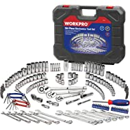 WORKPRO Socket Wrench Set, 164-piece Mechanics Tool Kit 1/4 Inch, 3/8 Inch and 1/2 Inch Drive...