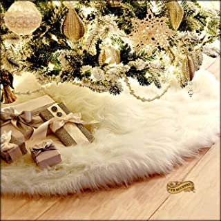 PLUSH FUR CHRISTMAS TREE SKIRT - WHITE SHAGGY SHAG - ROUND - WITH CENTER OPENING FOR TREE - KEEPSAKE COLLECTION (80