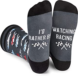 Lavley - I'd Rather Be - Men's Novelty Socks - Fun Dress Socks For Work (Fishing Hunting Racing Football Golf)