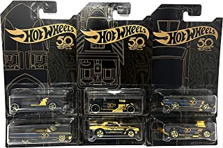 Hot Wheels New 1:64 50th Anniversary Black & Gold Collection - '67 Camaro, Bone Shaker, Twin Mill, Rodger Dodger, Dodge Dart, 64 Impala & Set of 6pcs Diecast Model Car By HotWheels