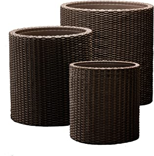 Keter Rattan Round Planters (Pack of 3)